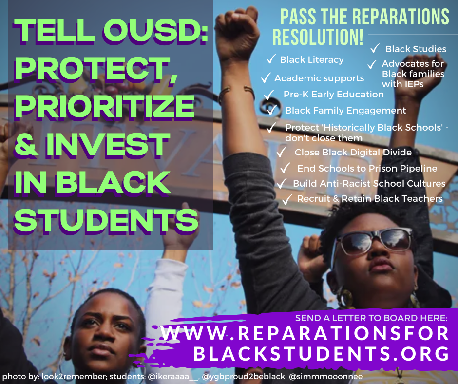 Tell OUSD: Protect, Prioritize and Invest in Black Students! (for Facebook)